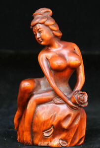 Chinese-Wood-Boxwood-Hand-carved-Sexuality-Women-Girl-Nobe-Lotus-Flower-Statue