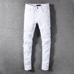 White elastic jeans white pants cotton straight jeans