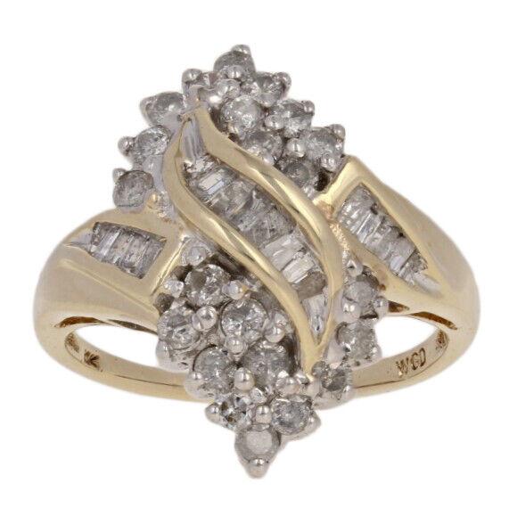 1.00ctw Round Brilliant Diamond Ring - 10k Yellow gold Cluster Women's 7 1 2