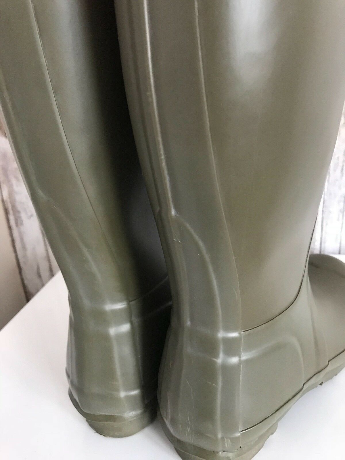 HUNTER Original Farbe Block Olive Grün Orange Rain Stiefel EU UK 4 US 6 EU Stiefel 37 RARE 032bf2