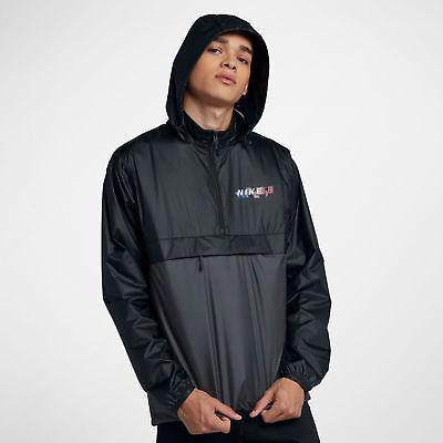 NWT Nike Men SB Jacket Anorak Packable Windbreaker Hood BLACK 886110-010