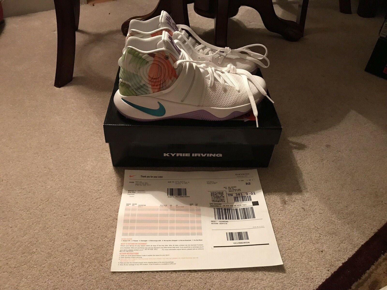 NIKE KYRIE 2 EASTER WHITE HYPER JADE SIZE 10 NEW IN BOX W RECEIPT
