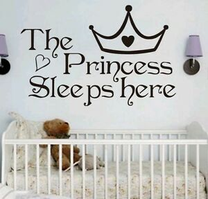 Image is loading Princess-wall-decal-sticker-baby-nursery-girl-bedroom-  sc 1 st  eBay & Princess wall decal sticker baby nursery girl bedroom home decor | eBay