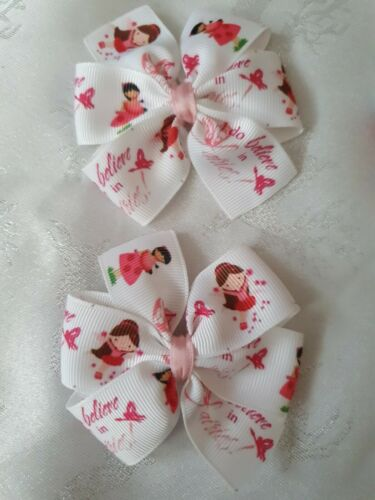 2x Girls Pinwheel Hair Bow Clips Accessories White Pink I Believe In Fairies