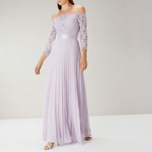 34b7bc4627a3 Coast Imi Lace Bardot Lilac Maxi Dress Size UK 6 (Brand New With ...