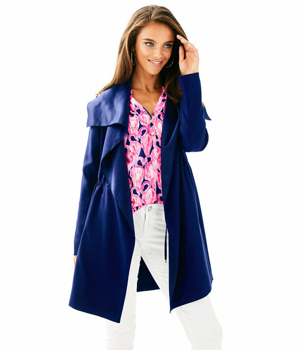 298 NEW Lilly Pulitzer VALERIA DRESS COAT True Navy Trench Open Front S L XL