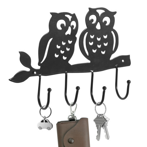 Owl Design Black Metal 4 Key Hook Rack Wall Mounted Hanging Storage Organizer