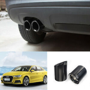 2x Silver Car Stainless Steel Exhaust Tip Muffler Pipe Cover Trim For Audi A4 Q5