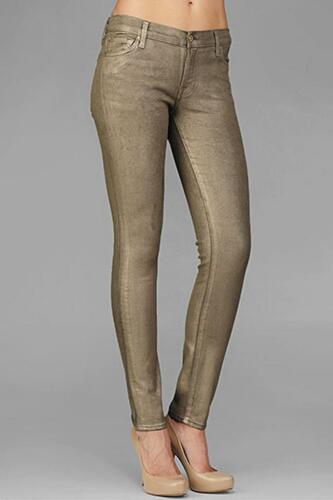 7 For All Mankind The Skinny Jean Gold Metallic Foil AU0150814S NEW