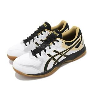 Asics-Gel-Rocket-9-White-Black-Gold-Mens-Volleyball-Shoes-Indoor-1071A030-100