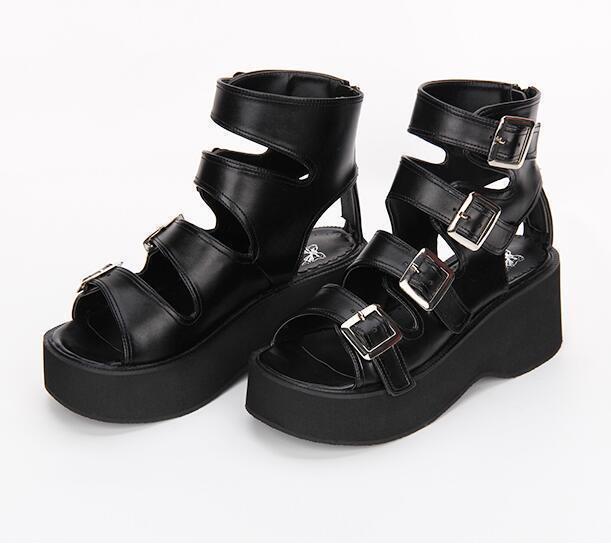 donna Buckle Buckle Buckle Strap Open Toe Gothic Punk Block Heels Platform Summer Sandals scarpe d19274