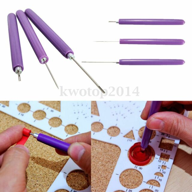 3pcs/Set Paper Quilling Tools Origami DIY - 2 Assorted Needles & 1 Slotted Tool