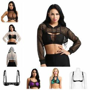 540722ee96022 Sexy Women s Fishnet Open Chest Mesh Crop Top T-Shirt Cami Bra Vest ...