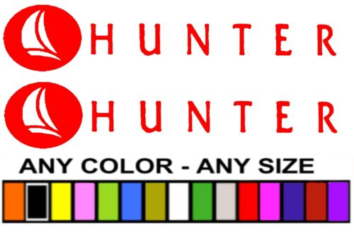 """HUNTER SAILING  STICKERS DECALS  /""""ANY SIZE OR COLOR/""""  *PAIR* YACHTS"""