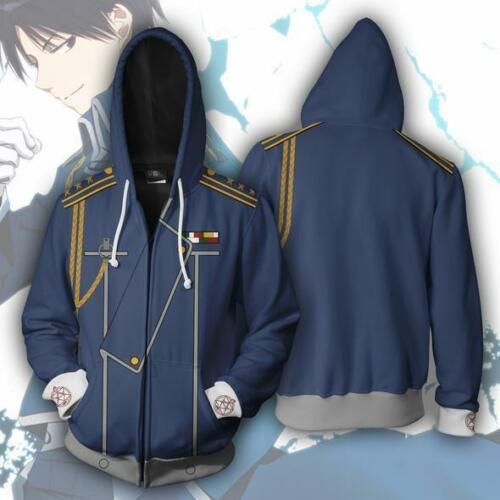 Fullmetal Alchemist Edward Anime Hoodie Sweatshirts Jacket Zipper Coat Cosplay