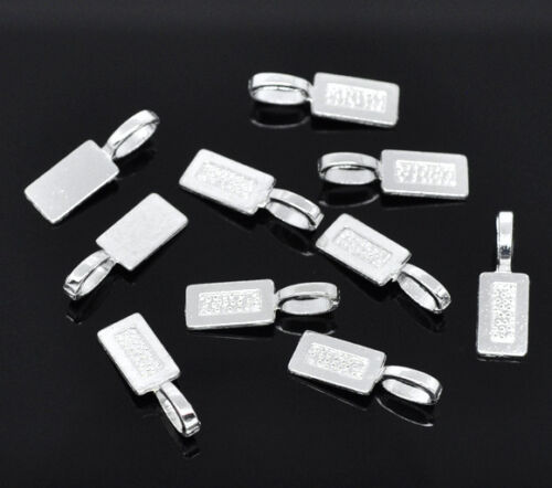 50PCs Jewelry Silver Plated Tag Glue on Bail 21x7mm