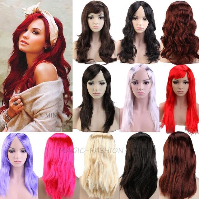 Halloween Black Blonde Brown Red Purple Pink Long Fringe wig Fancy Dress Costume