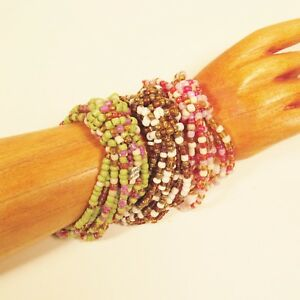 Set-of-3-Bright-Multi-Color-Handmade-Beaded-Stretch-Elastic-Seed-Bead-Bracelets