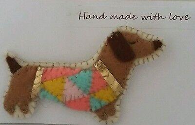 Dachshund sausage dog brown Handmade felt brooch