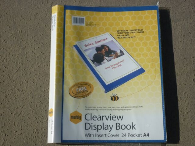 PROMO Marbig Clearview Display Book with Insert Cover 24 pockets A4 BLUE 20550