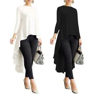 Women-Long-Sleeve-Asymmetrical-Waterfall-Shirt-Tops-High-Low-Plus-Blouse-Fashion