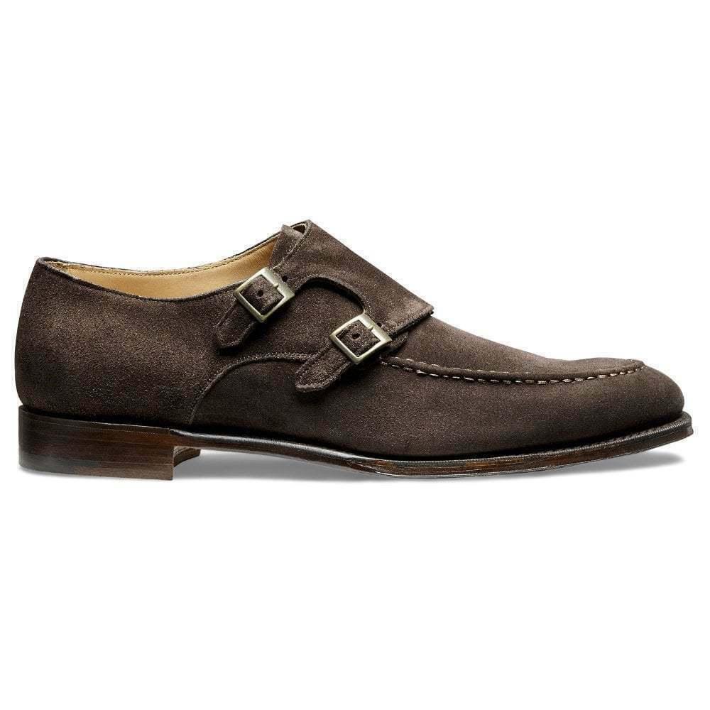 Herren Handgefertigte dunkelbraune Wildleder formale Doppel Mönch Strap Schuhe