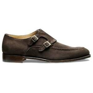 Herren-Handgefertigte-dunkelbraune-Wildleder-formale-Doppel-Moench-Strap-Schuhe