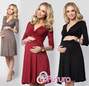 Ladies-Maternity-Skater-Dress-Ruffle-V-Neck-Long-Sleeve-Plus-Sizes-8-18-FM15