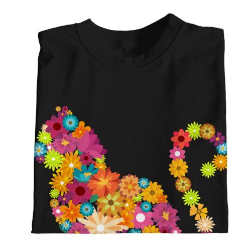 1Tee Womens Cat Silhouette Floral T-Shirt