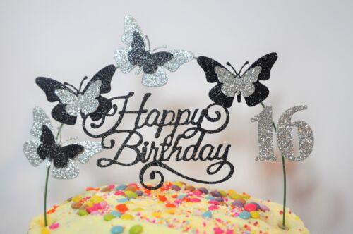 Black /& SILVER SWIRLY Birthday Cake Decoration Glitter Butterfly Topper Arch