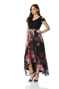 Roman-Originals-Women-Floral-Print-Cold-Shoulder-Maxi-Dress