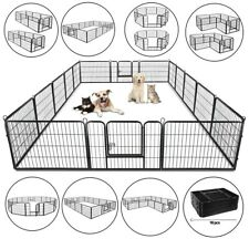 "24"""" Heavy Duty Metal Dog Cat Exercise Fence Playpen Kennel 16 Panel Safe for Pet"
