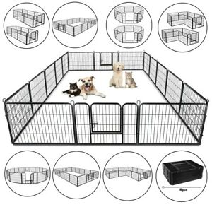 """24"""""""" Heavy Duty Metal Dog Cat Exercise Fence Playpen Kennel 16 Panel Safe for Pet"""