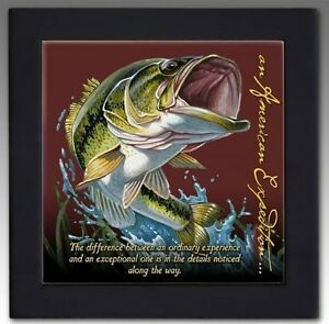American-Expedition-Largemouth-Bass-Wood-Framed-Trivet-NEW
