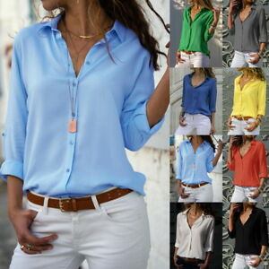 247f96fe Summer Women Chiffon V Neck Button Up Long Sleeve Solid Loose Blouse ...