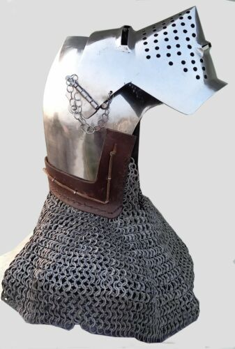 14Gauge Medieval Bascinet Hounskull Pig Face Helmet Klappvisor Battle Helmet