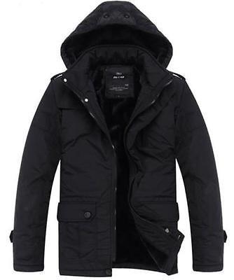 New Men's jackets hooded thick cotton coat padded jacket detachable cap black