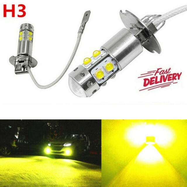 2X H3 LED CREE YELLOW HEADLIGHT FOG DRIVING LIGHT BULB CAR UTE 4WD LAMP GLOBE