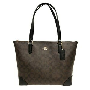 NEW-Coach-Signature-PVC-Canvas-Zip-Tote-Shoulder-Bag-Brown-Black-Gold-F29208