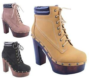 WOMENS-LADIES-CHUNKY-SOLE-HIGH-HEEL-PLATFORM-MILITARY-LACE-UP-ANKLE-BOOTS-SHOES