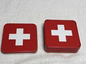 Metal and Cork SWITZERLAND Coasters in Storage Tin 3.5 x 3.5