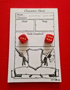 Heroquest Board Game 2 Original Movement Dice & 70 Character Sheets on Pad