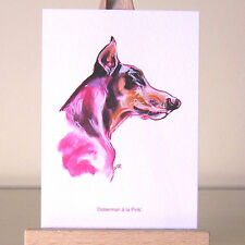 Pink Dobie drawing Doberman Pinscher ACEO Art Card surrealism
