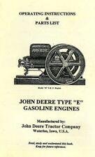 John Deere Model E Instruction Book Amp Repair List Book Gas Engine Motor