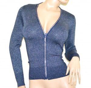 Maillot-cardigan-femme-bleu-a-manches-longues-pull-over-strass-zip-lurex-A37