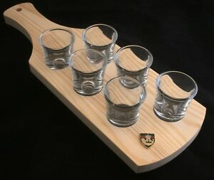 Rifles Regiment Shield Set of 6 Shot Glasses with Wooden Paddle Tray Holder BK54 cR9wgqXz-09102300-529433873
