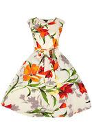 Ladies 1950's Retro Vintage Rockabilly Summer Floral Tea Swing Dress