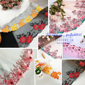 1-Yard-Embroidered-Floral-Tulle-Lace-edge-Trim-Ribbon-Fabric-Sewing-Crafts-FL230