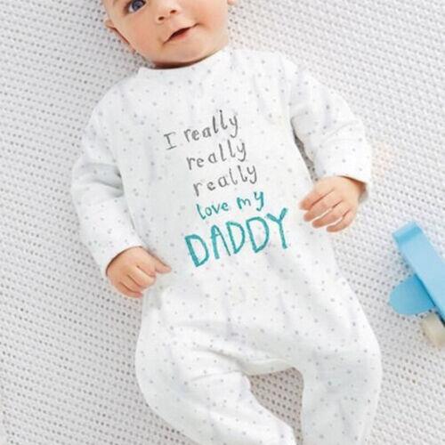 Baby Infant Boy Girls Newborn Cotton Love Mom Dad Romper Clothes Jumpsuit RJU