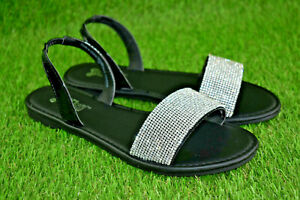 Details about Brash Zola Rhinestone Strap Footbed Sandals Black Women's Size 7.5 New
